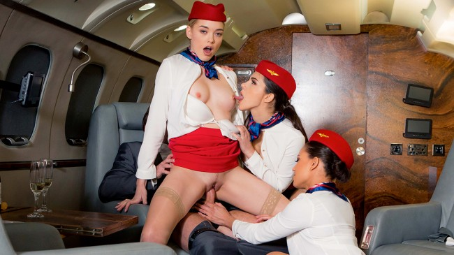 3 Stewardesses taken on the plane