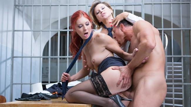 Hard sex party with the 2 naughty wardens Anna Polina & Kattie Gold