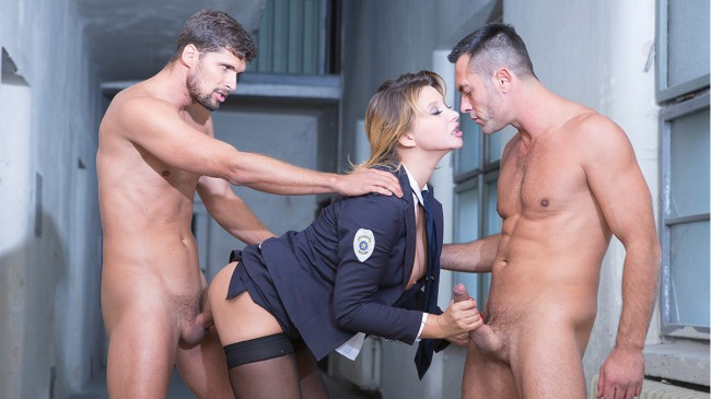 Two big dick for warden Anna Polina