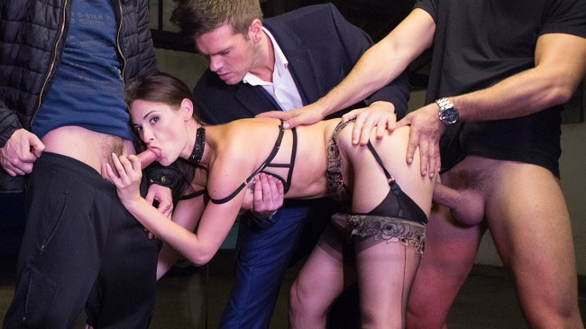 LUXURE - Claire Castel, fucked hard by 3 men in a parking lot