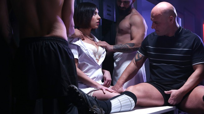 Ines Lenvin, hard gang bang with a rugby team