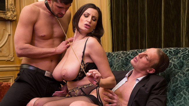 Sensual, the big tits milf gets fucked by 2 men