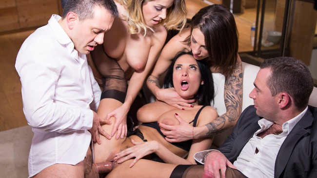 Hardcore sex party with Cara, Anissa and Nikita